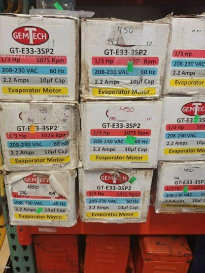 GEMTECH 4 SPEED EVAPORATOR BLOWER MOTOR 1-3 HP 1075 RPM GT-E33-3SP2
