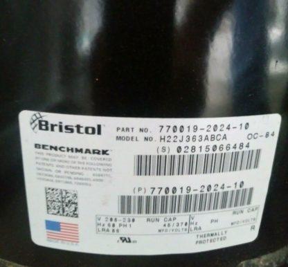 BRISTOL AC COMPRESSOR, 35,700 BtuH, 208 230V H22J363ABCA r22 NEW