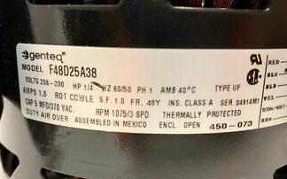 Genteq Evaporating Motor F48D25A38 Volt 208 - 230 HP