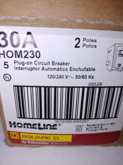 New Circuit Breaker Square D Homeline HOM230 2 Pole 30 Amp 120 240V Plug In